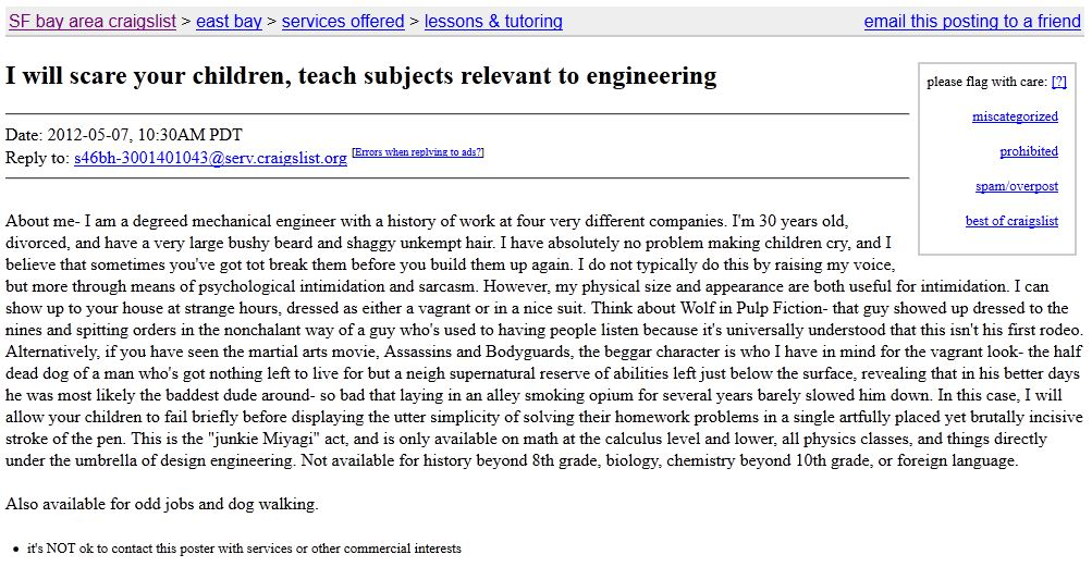 Post a Silly Long-Shot Craigslist Ad